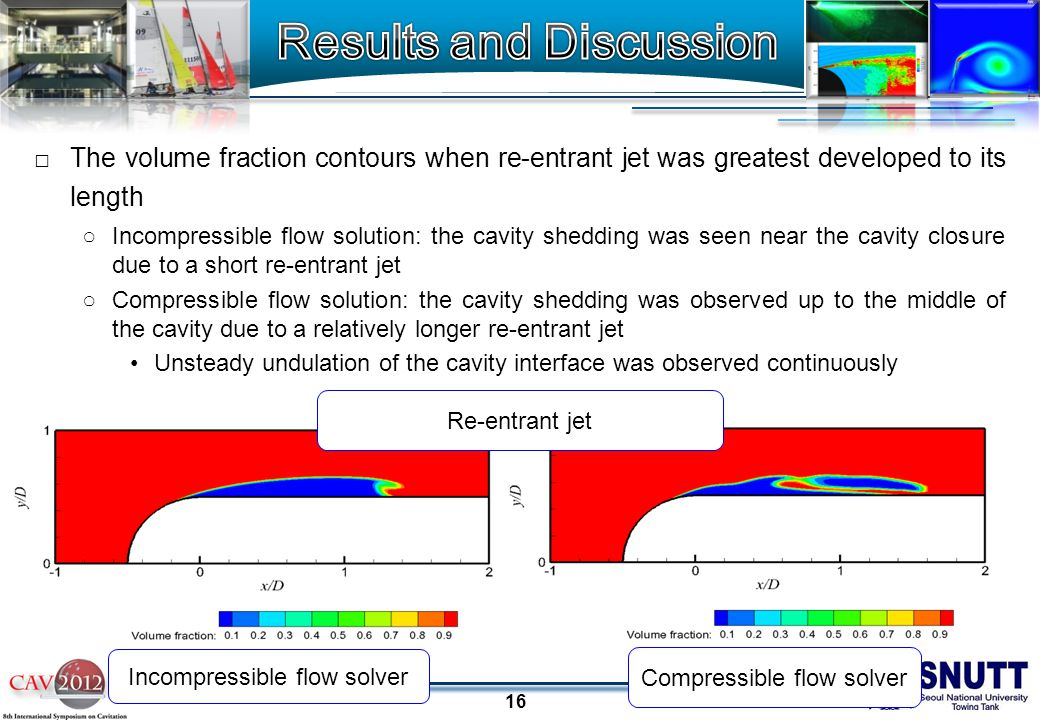 16 □The volume fraction contours when re-entrant jet was greatest developed to its length ○Incompressible flow solution: the cavity shedding was seen near the cavity closure due to a short re-entrant jet ○Compressible flow solution: the cavity shedding was observed up to the middle of the cavity due to a relatively longer re-entrant jet Unsteady undulation of the cavity interface was observed continuously Re-entrant jet Incompressible flow solver Compressible flow solver