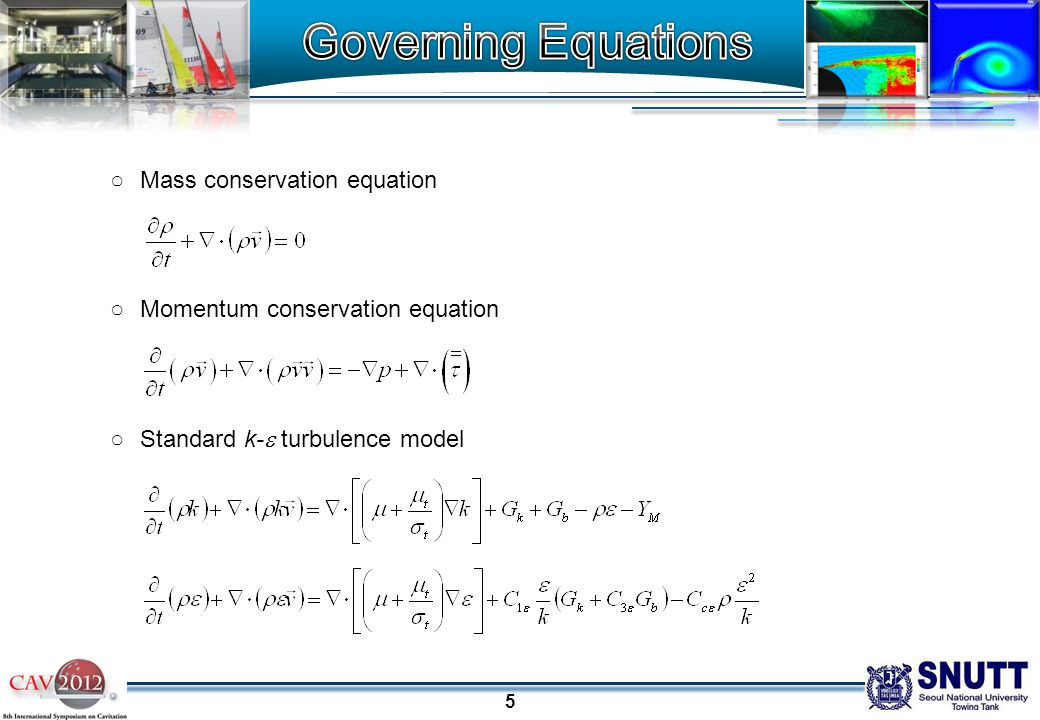 5 ○Mass conservation equation ○Momentum conservation equation ○Standard k-  turbulence model