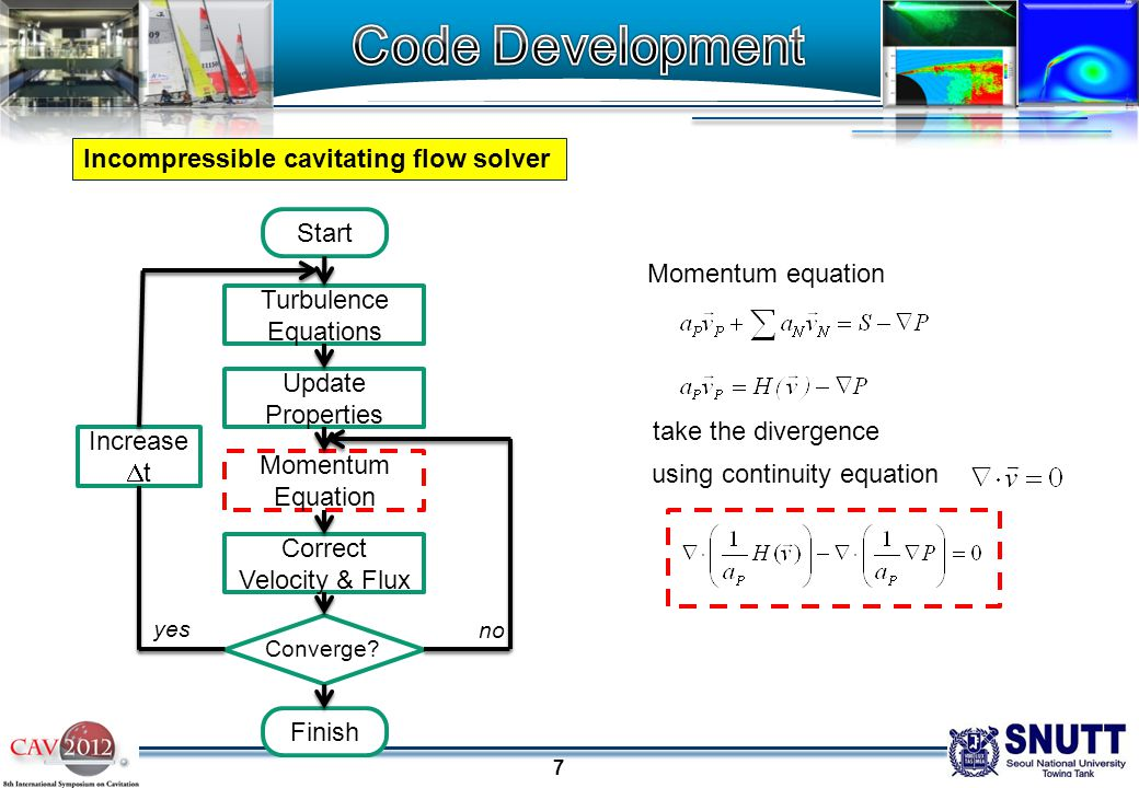 8 Isothermal compressible cavitating flow solver Momentum equation using continuity equation take the divergence Substitute density to pressure Turbulence Equations Update Properties Momentum Equation Correct Velocity & Flux Converge.