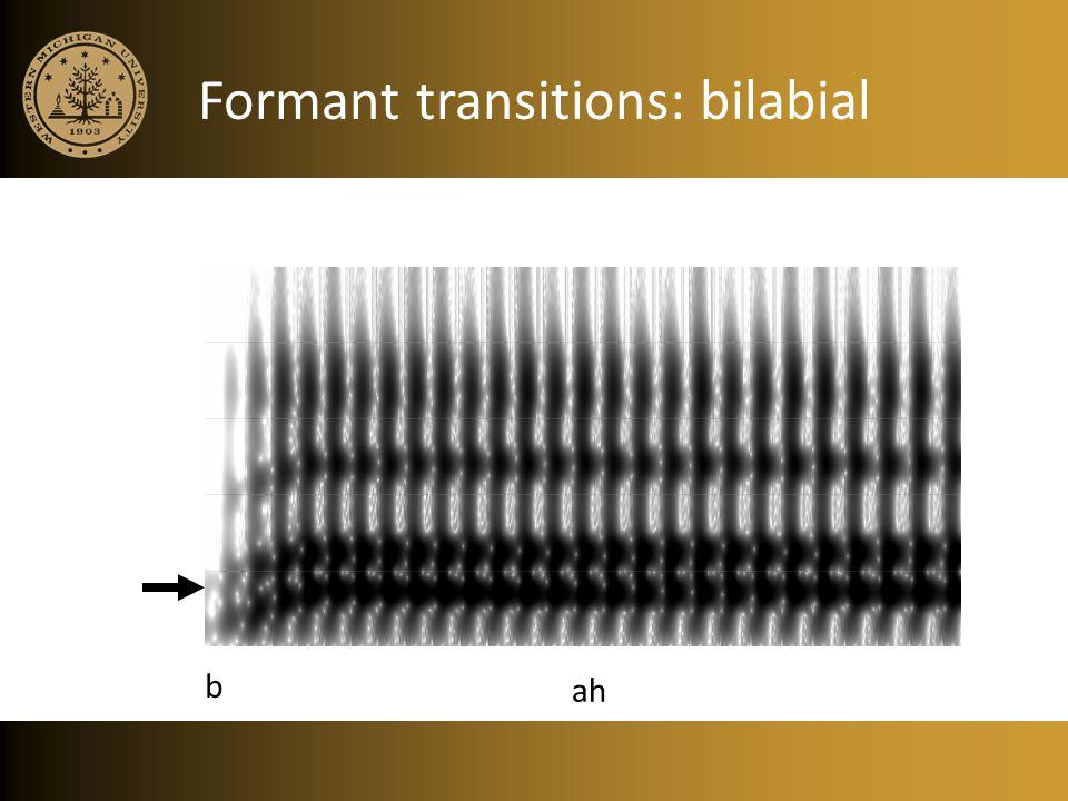 Formant transitions: bilabial ah b