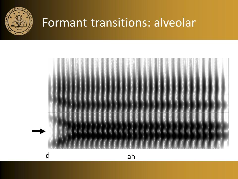 Formant transitions: alveolar ah d
