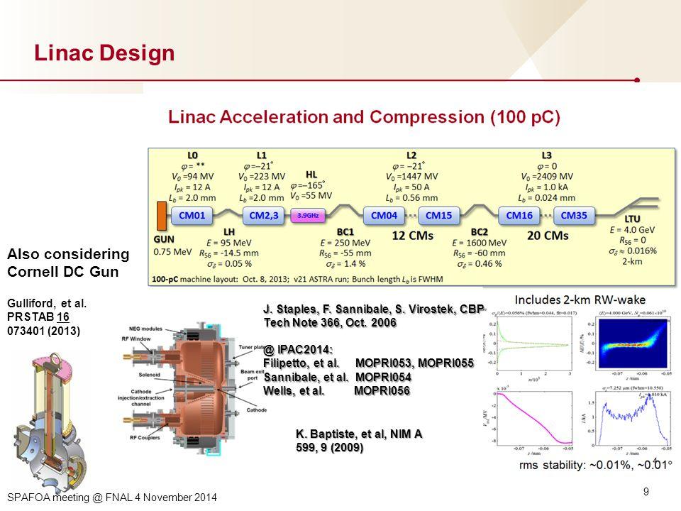 9 Linac Design K. Baptiste, et al, NIM A 599, 9 (2009) J.