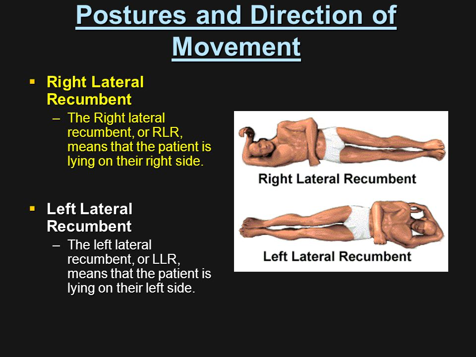  Right Lateral Recumbent –The Right lateral recumbent, or RLR, means that the patient is lying on their right side.  Left Lateral Recumbent –The lef