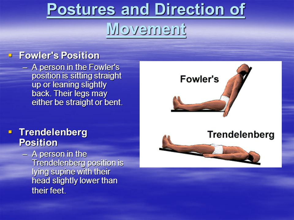  Fowler's Position –A person in the Fowler's position is sitting straight up or leaning slightly back. Their legs may either be straight or bent.  T