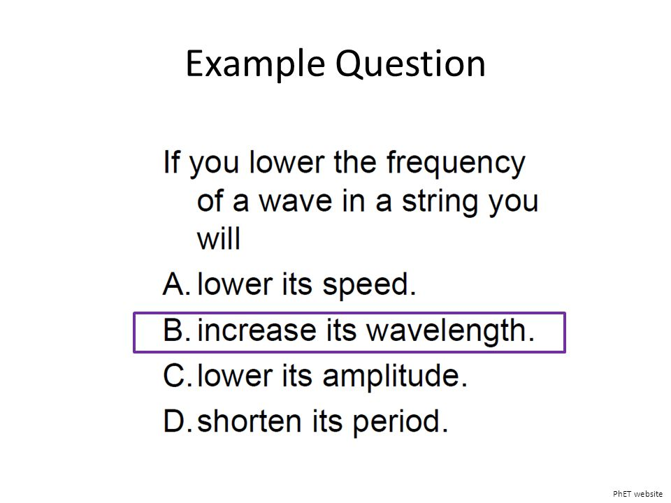 Example Question PhET website