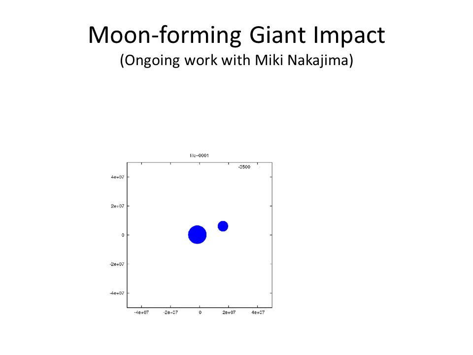 Moon-forming Giant Impact (Ongoing work with Miki Nakajima)