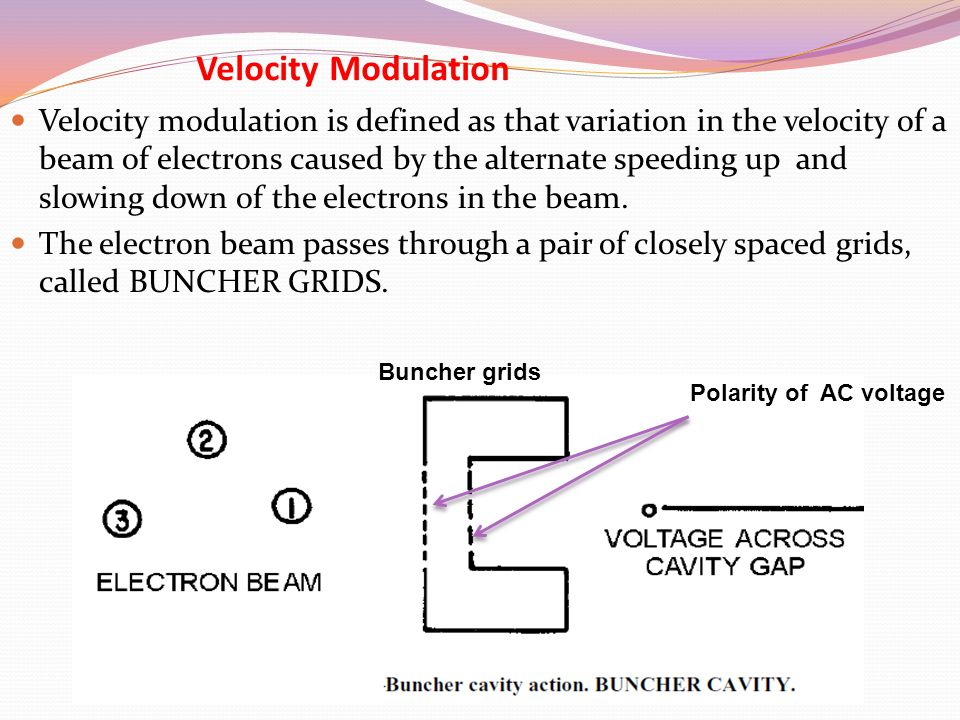 Velocity Modulation Velocity modulation is defined as that variation in the velocity of a beam of electrons caused by the alternate speeding up and sl