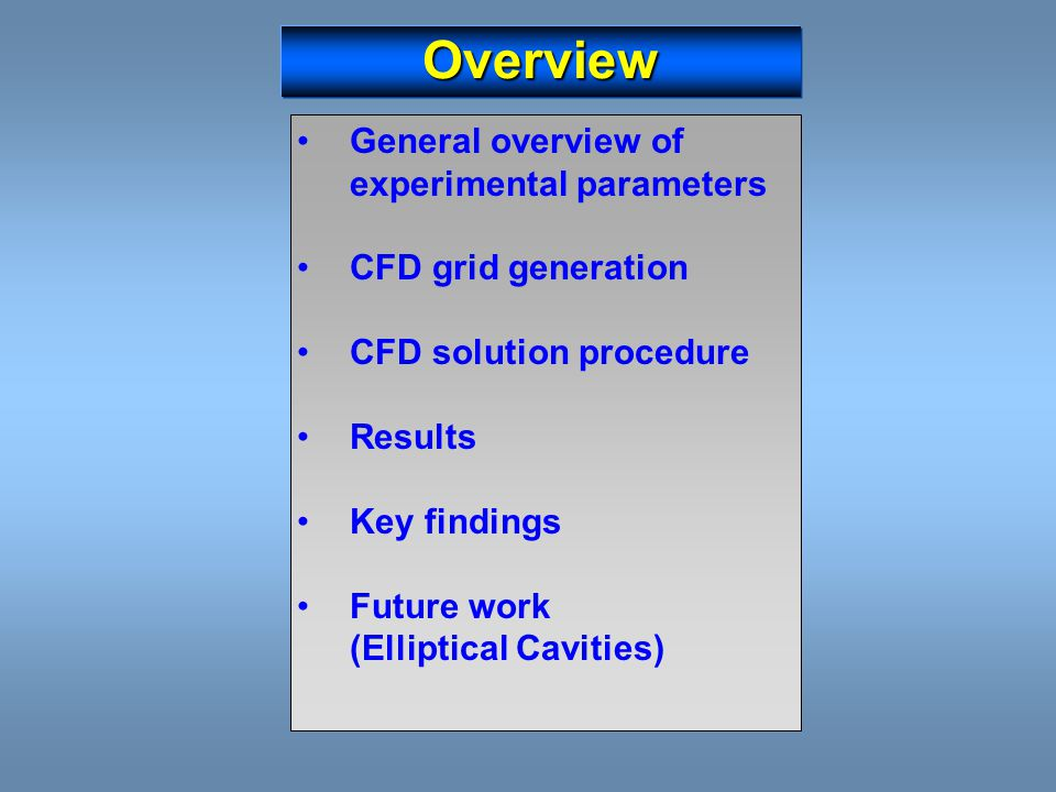 Overview General overview of experimental parameters CFD grid generation CFD solution procedure Results Key findings Future work (Elliptical Cavities)