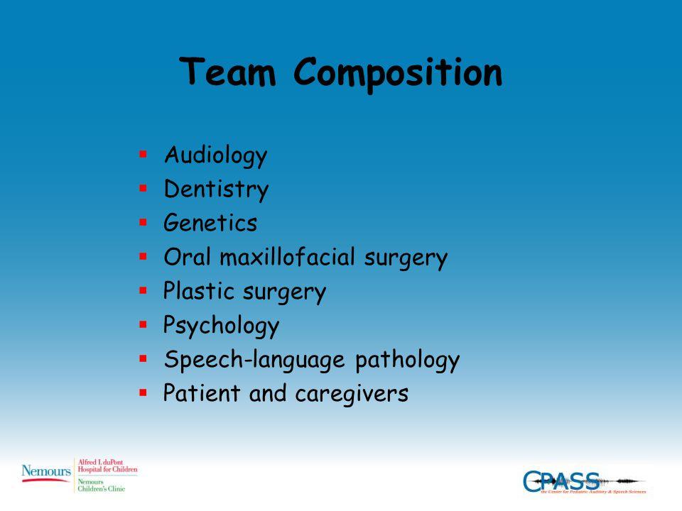 Team Composition  Audiology  Dentistry  Genetics  Oral maxillofacial surgery  Plastic surgery  Psychology  Speech-language pathology  Patient and caregivers