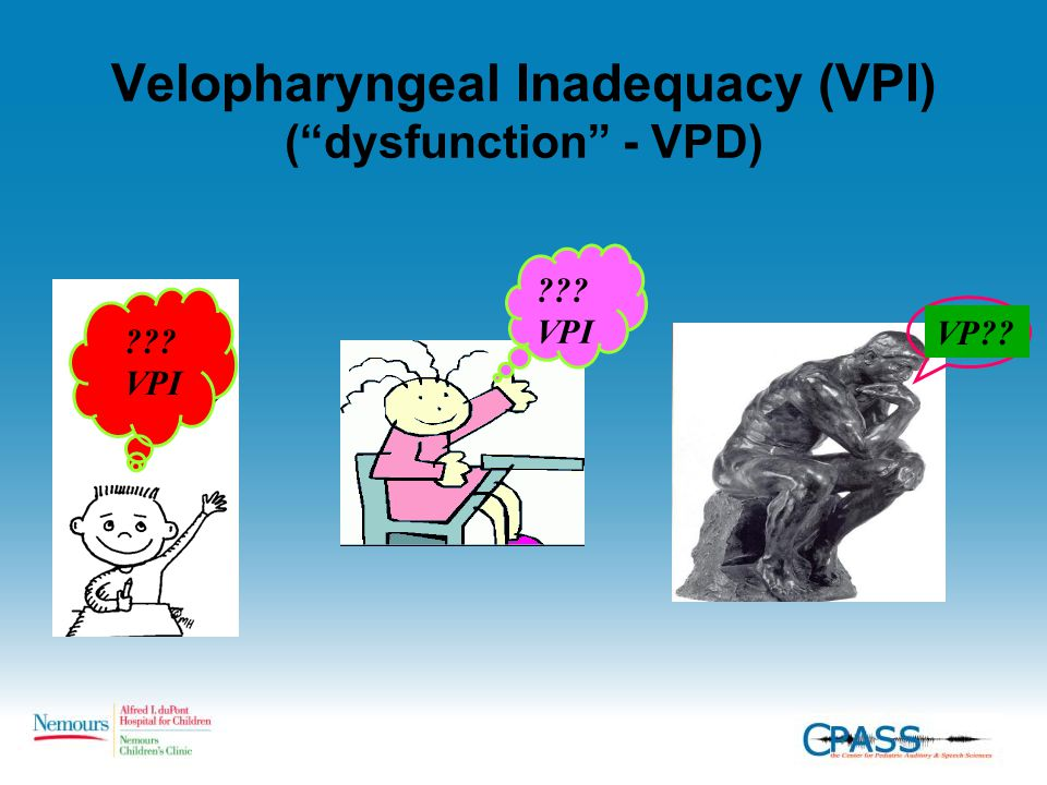 "Velopharyngeal Inadequacy (VPI) (""dysfunction"" - VPD) ??? VPI VP??"