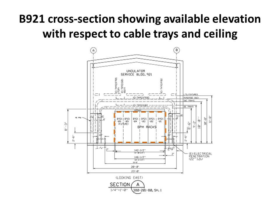B921 cross-section showing available elevation with respect to cable trays and ceiling