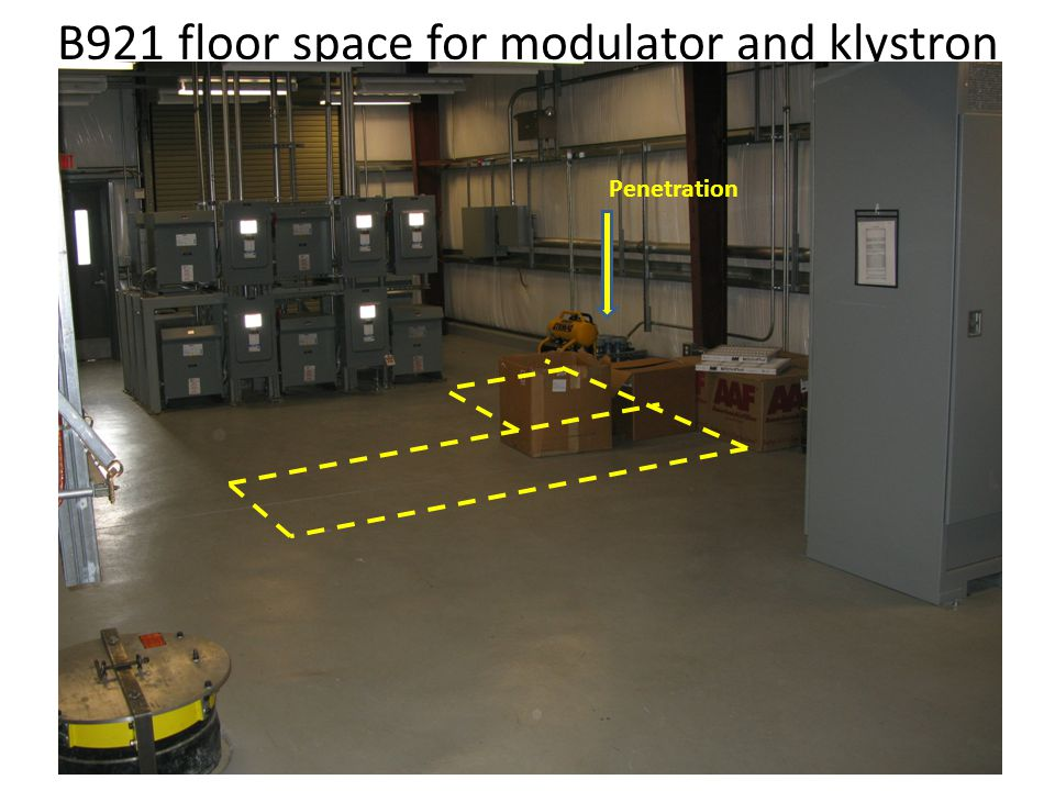 B921 floor space for modulator and klystron Penetration