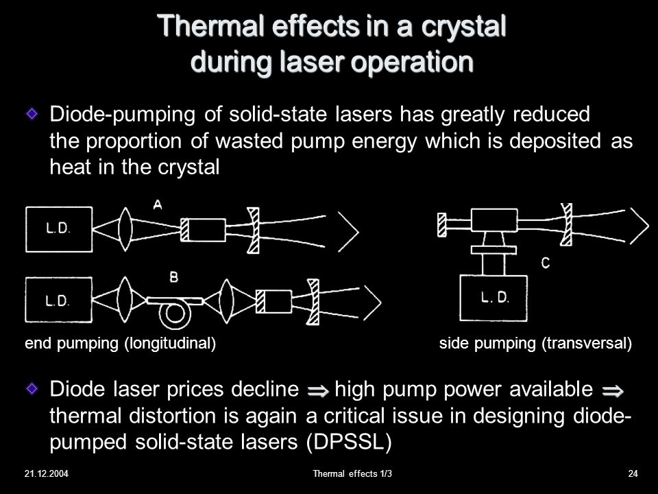 21.12.2004Thermal effects 1/324 Thermal effects in a crystal during laser operation Diode-pumping of solid-state lasers has greatly reduced the proportion of wasted pump energy which is deposited as heat in the crystal end pumping (longitudinal)side pumping (transversal)  Diode laser prices decline  high pump power available  thermal distortion is again a critical issue in designing diode- pumped solid-state lasers (DPSSL)