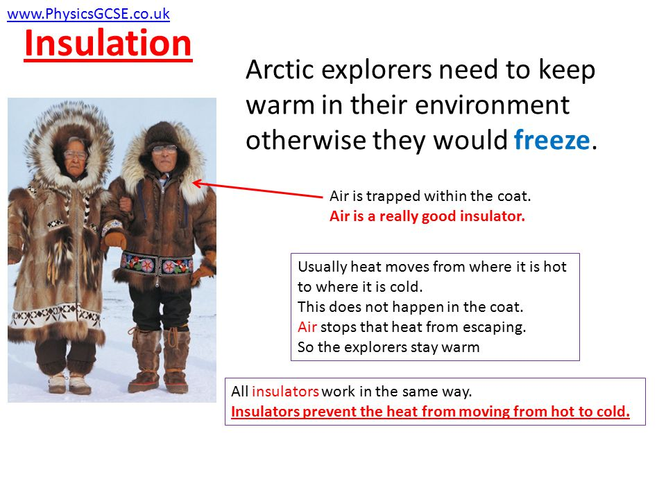 Insulation Arctic explorers need to keep warm in their environment otherwise they would freeze.