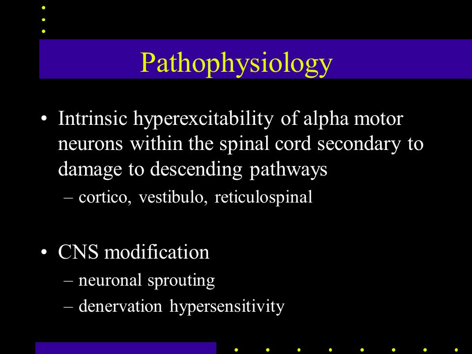 Pathophysiology Intrinsic hyperexcitability of alpha motor neurons within the spinal cord secondary to damage to descending pathways –cortico, vestibulo, reticulospinal CNS modification –neuronal sprouting –denervation hypersensitivity