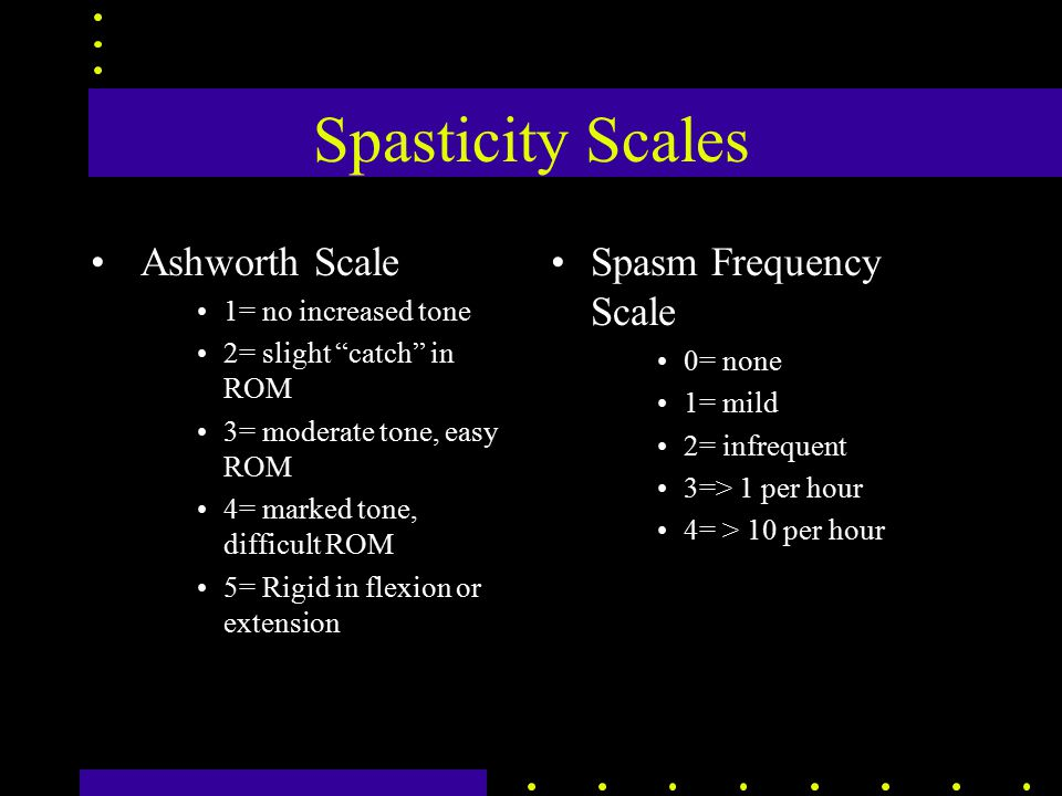 Spasticity Scales Ashworth Scale 1= no increased tone 2= slight catch in ROM 3= moderate tone, easy ROM 4= marked tone, difficult ROM 5= Rigid in flexion or extension Spasm Frequency Scale 0= none 1= mild 2= infrequent 3=> 1 per hour 4= > 10 per hour