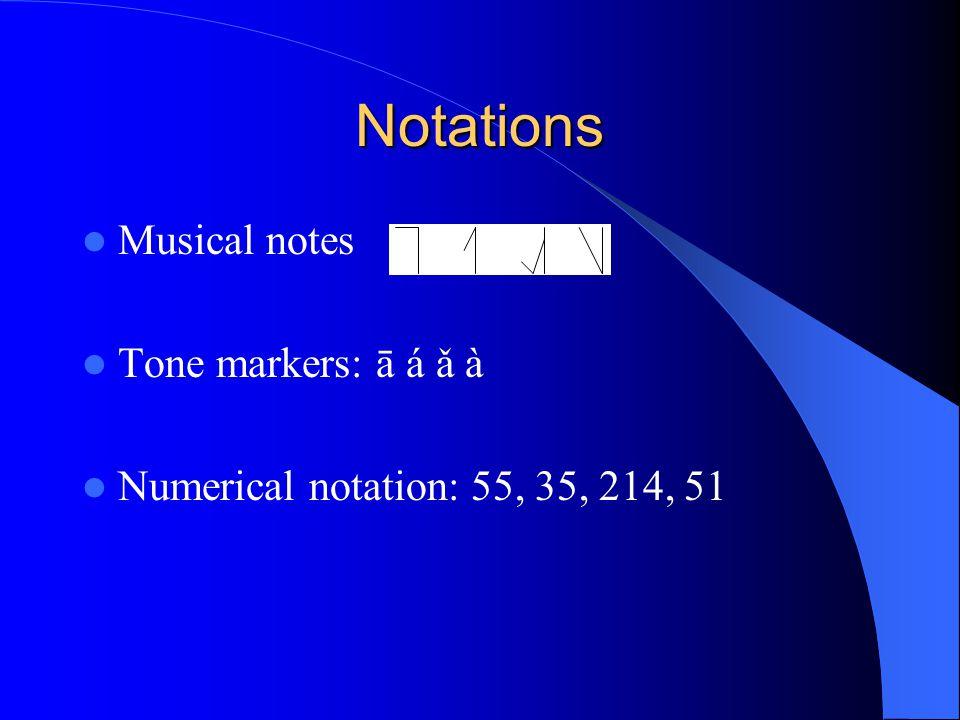Notations Musical notes Tone markers: ā á ǎ à Numerical notation: 55, 35, 214, 51