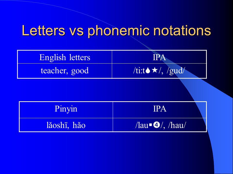 Letters vs phonemic notations English lettersIPA teacher, good /ti:t  /, /gud/ PinyinIPA lǎoshī, hǎo /lau  /, /hau/
