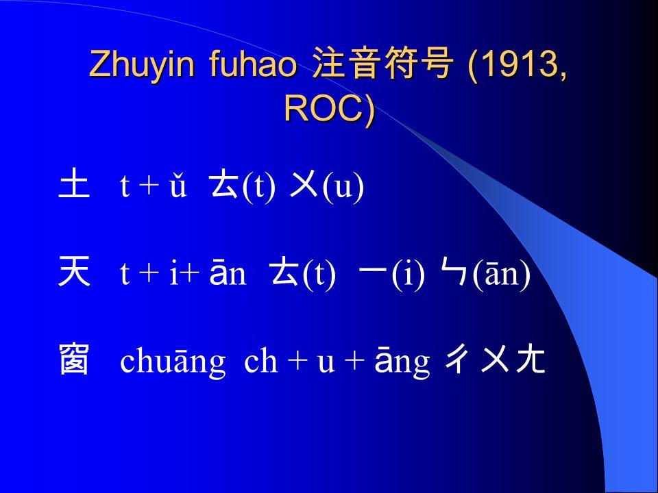 Zhuyin fuhao 注音符号 (1913, ROC) 土 t + ǔ ㄊ (t) ㄨ (u) 天 t + i+ ā n ㄊ (t) ㄧ (i) ㄣ (ān) 窗 chuāng ch + u + ā ng ㄔㄨㄤ