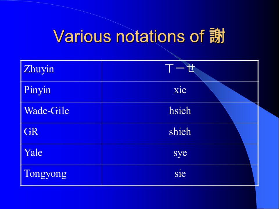 Various notations of 謝 Zhuyin ㄒ一ㄝ Pinyinxie Wade-Gilehsieh GRshieh Yalesye Tongyongsie