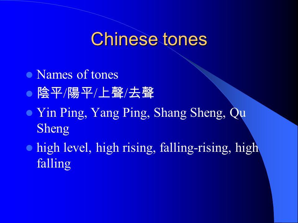 Chinese tones Names of tones 陰平 / 陽平 / 上聲 / 去聲 Yin Ping, Yang Ping, Shang Sheng, Qu Sheng high level, high rising, falling-rising, high falling
