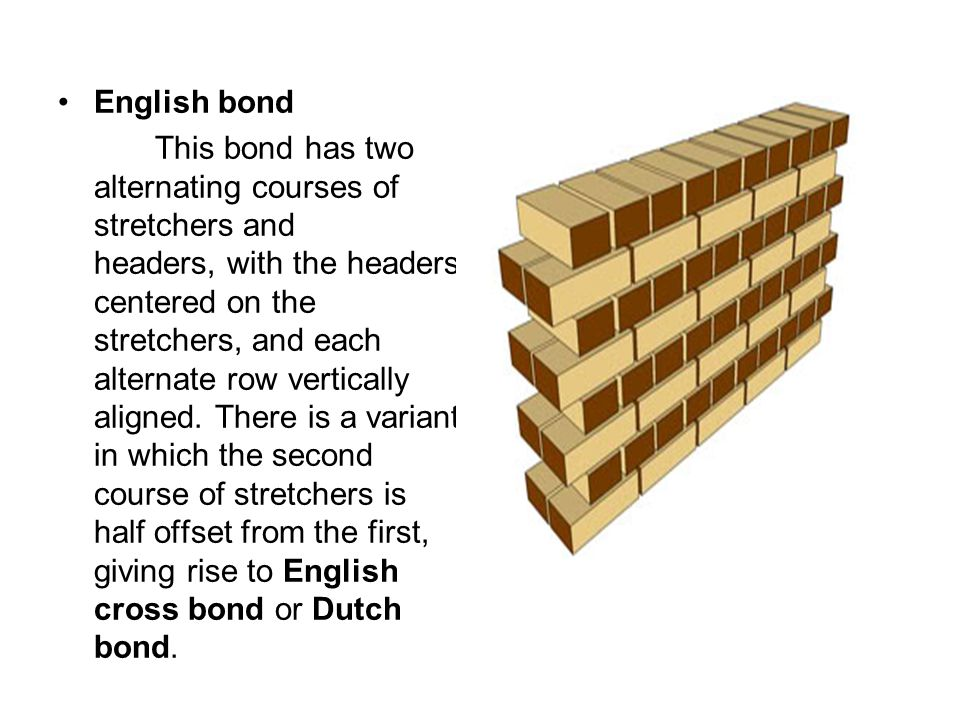 English bond This bond has two alternating courses of stretchers and headers, with the headers centered on the stretchers, and each alternate row vertically aligned.