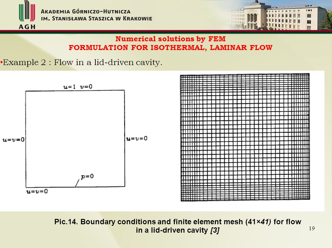 Numerical solutions by FEM FORMULATION FOR ISOTHERMAL, LAMINAR FLOW Pic.14. Boundary conditions and finite element mesh (41×41) for flow in a lid-driv