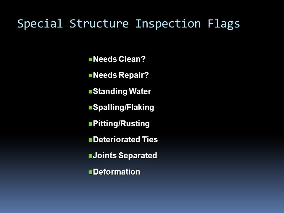 Special Structure Inspection Flags Needs Clean. Needs Clean.