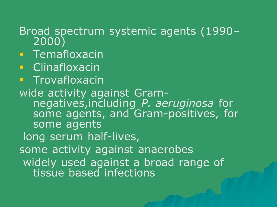 Broad spectrum systemic agents (1990– 2000)  Temafloxacin  Clinafloxacin  Trovafloxacin wide activity against Gram- negatives,including P. aerugino