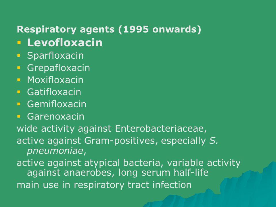 Respiratory agents (1995 onwards)  Levofloxacin  Sparfloxacin  Grepafloxacin  Moxifloxacin  Gatifloxacin  Gemifloxacin  Garenoxacin wide activi