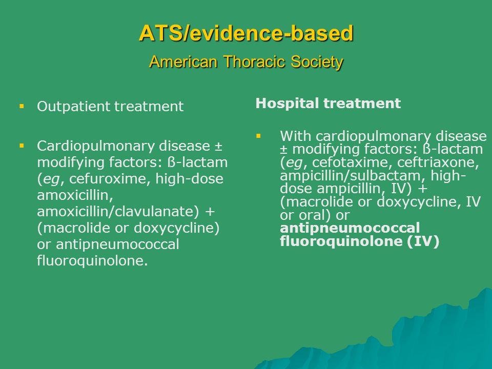 ATS/evidence-based American Thoracic Society  Outpatient treatment  Cardiopulmonary disease ± modifying factors: ß-lactam (eg, cefuroxime, high-dose