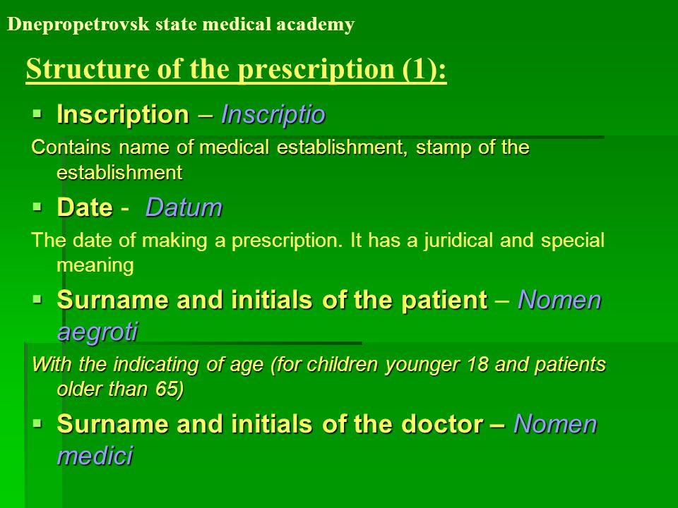 Structure of the prescription (1):  Inscription – Inscriptio Contains name of medical establishment, stamp of the establishment  DateDatum  Date - Datum The date of making a prescription.