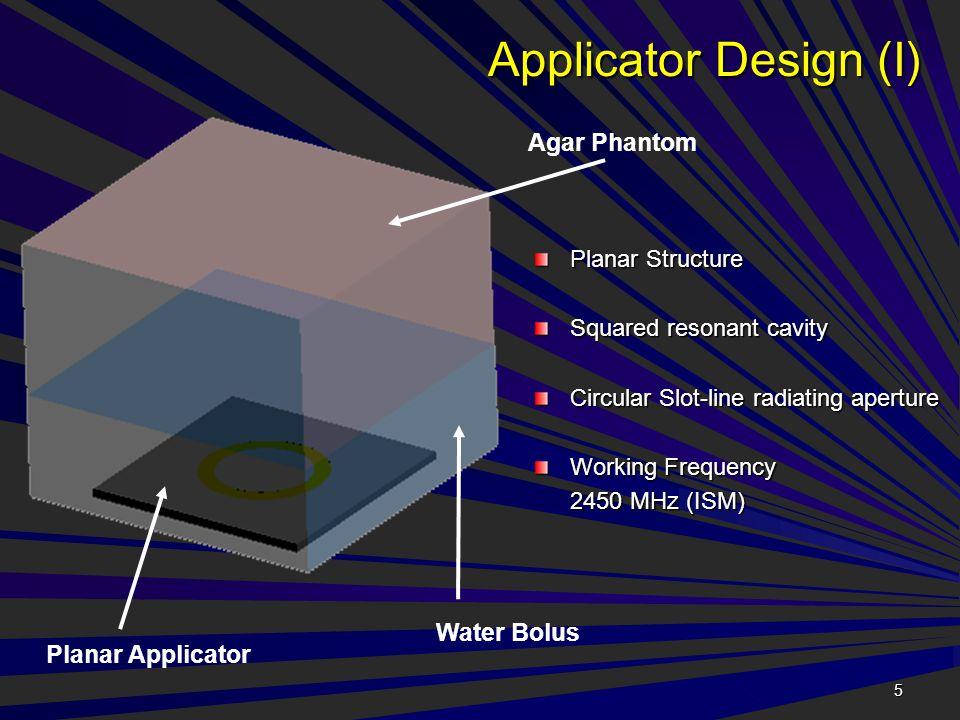 5 Applicator Design (I) Planar Structure Squared resonant cavity Circular Slot-line radiating aperture Working Frequency 2450 MHz (ISM) Agar Phantom Water Bolus Planar Applicator