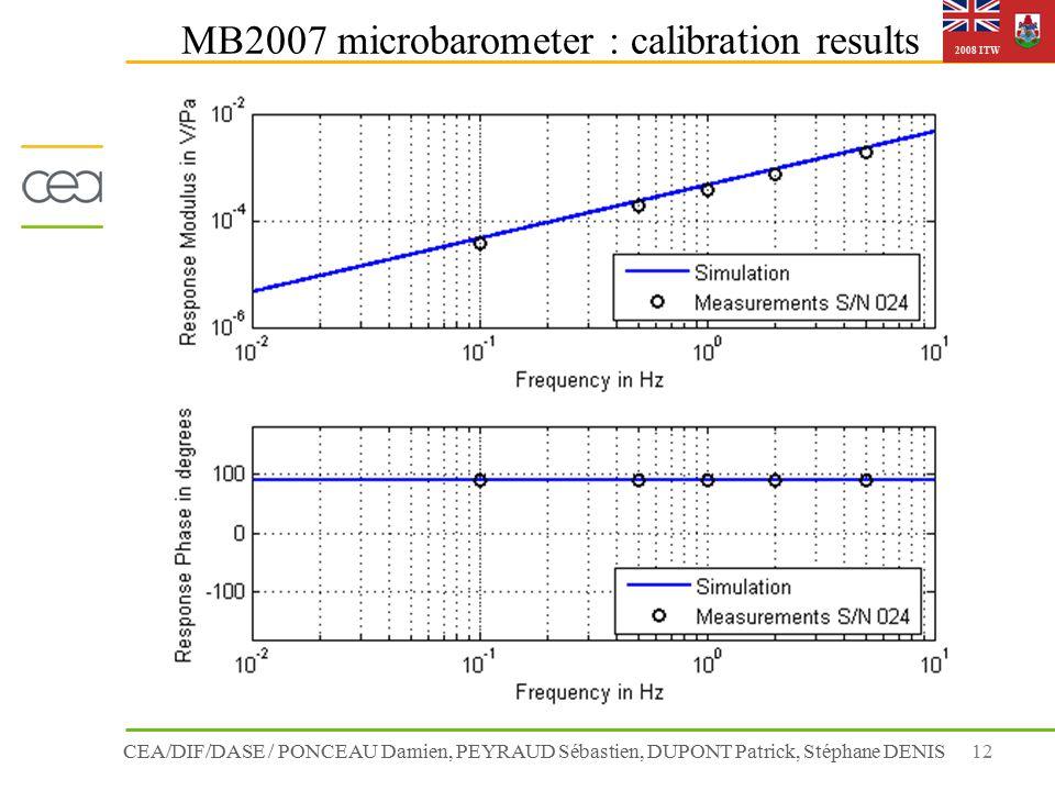 CEA/DIF/DASE / PONCEAU Damien, PEYRAUD Sébastien, DUPONT Patrick, Stéphane DENIS12 2008 ITW MB2007 microbarometer : calibration results