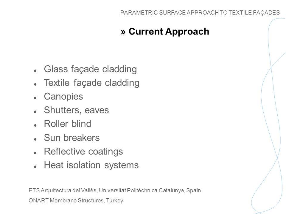 PARAMETRIC SURFACE APPROACH TO TEXTILE FAÇADES ETS Arquitectura del Vallès, Universitat Politèchnica Catalunya, Spain ONART Membrane Structures, Turkey Thank You.