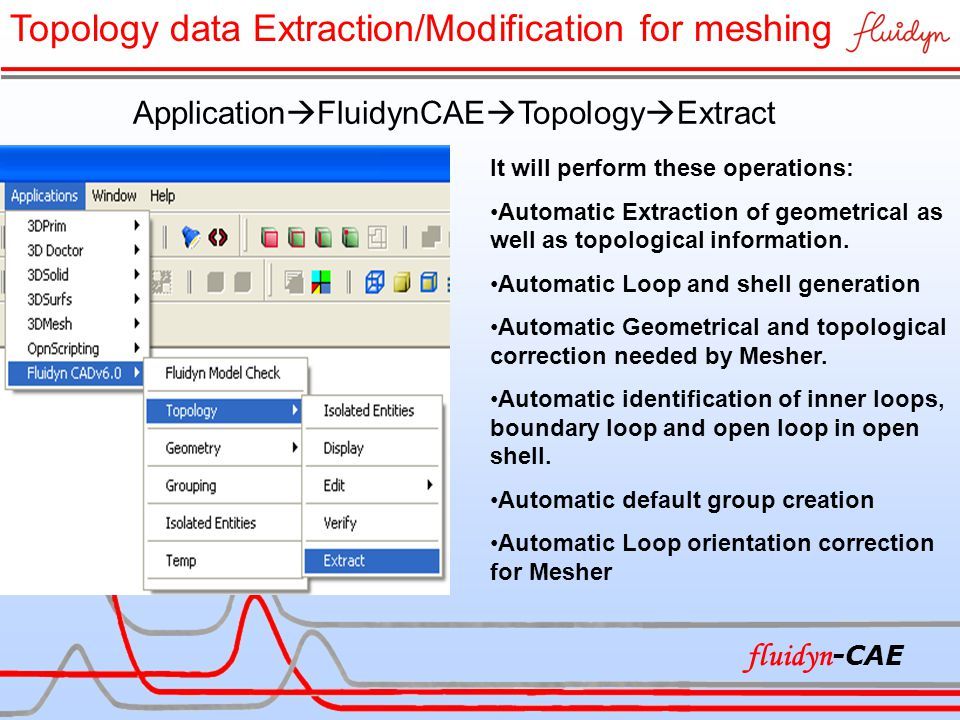 It will perform these operations: Automatic Extraction of geometrical as well as topological information. Automatic Loop and shell generation Automati