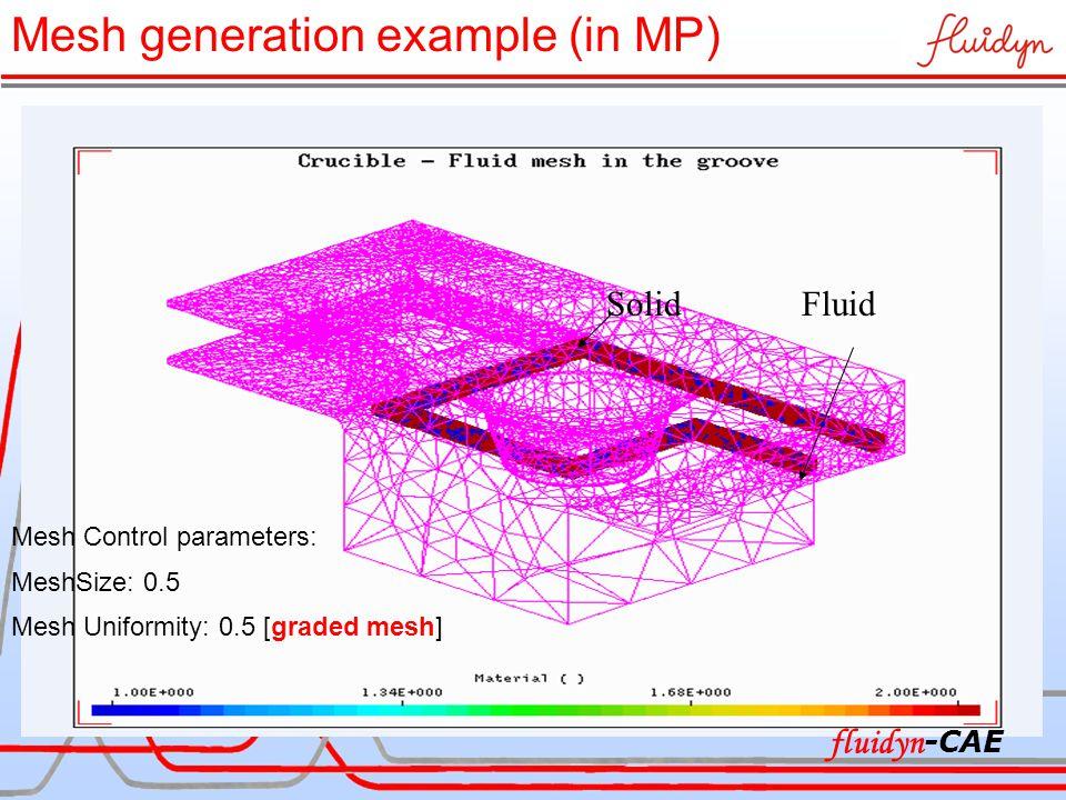 SolidFluid Mesh Control parameters: MeshSize: 0.5 Mesh Uniformity: 0.5 [graded mesh] Mesh generation example (in MP) fluidyn -CAE