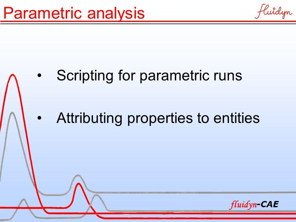 Parametric analysis Scripting for parametric runs Attributing properties to entities fluidyn -CAE
