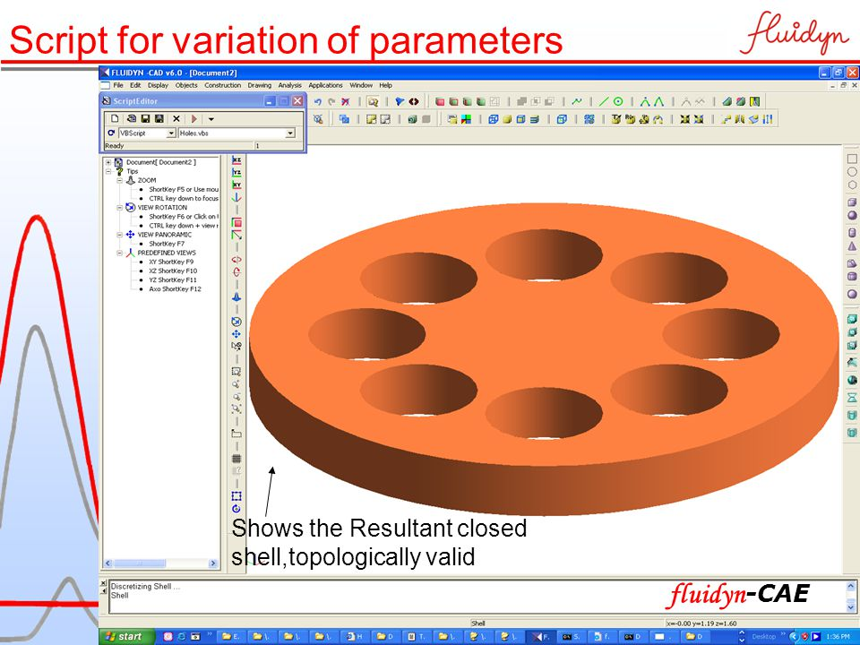 Shows the Resultant closed shell,topologically valid Script for variation of parameters fluidyn -CAE