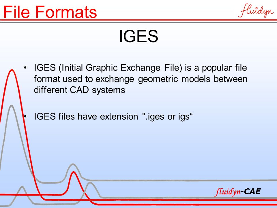 IGES IGES (Initial Graphic Exchange File) is a popular file format used to exchange geometric models between different CAD systems IGES files have extension .iges or igs File Formats fluidyn -CAE