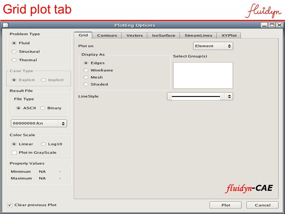 Grid plot tab fluidyn -CAE
