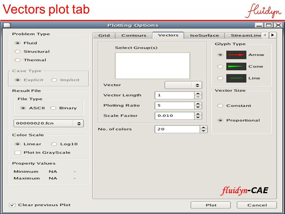Vectors plot tab fluidyn -CAE