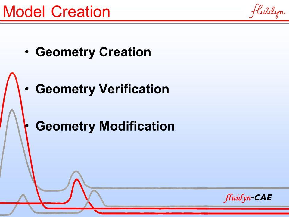 Geometry Creation Geometry Verification Geometry Modification fluidyn -CAE Model Creation