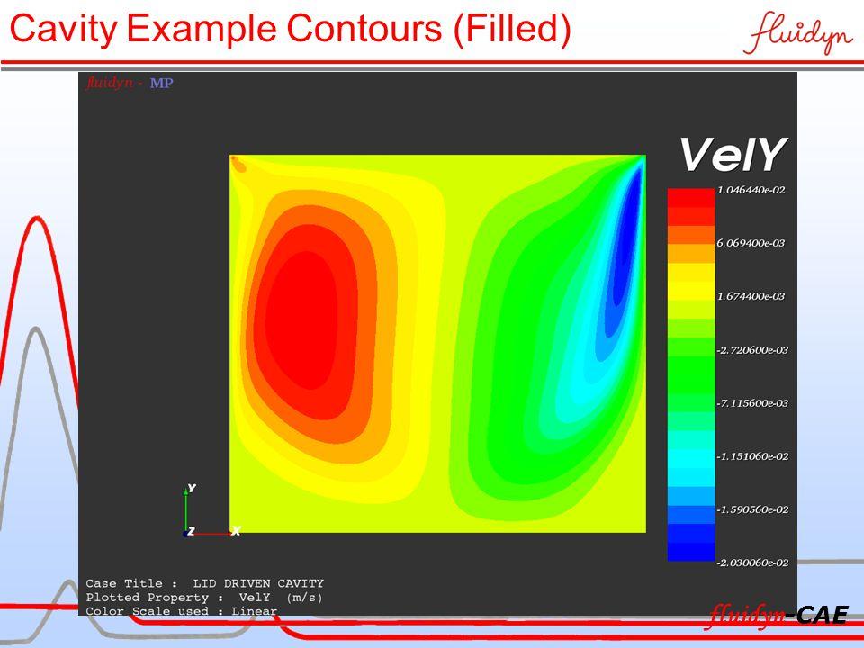 Cavity Example Contours (Filled) fluidyn -CAE