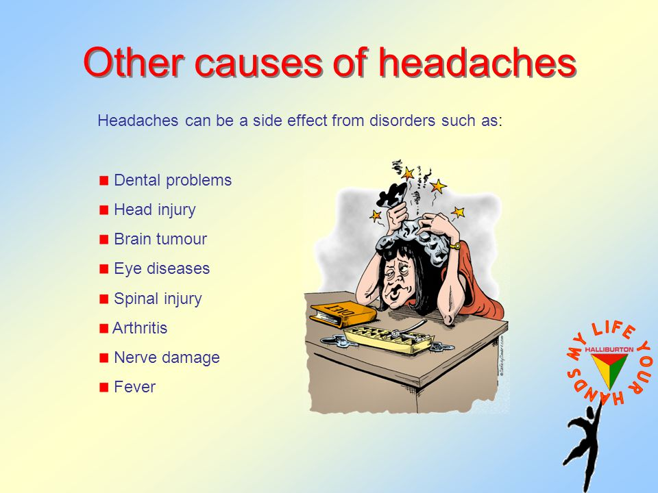 Other causes of headaches Headaches can be a side effect from disorders such as: Dental problems Head injury Brain tumour Eye diseases Spinal injury Arthritis Nerve damage Fever