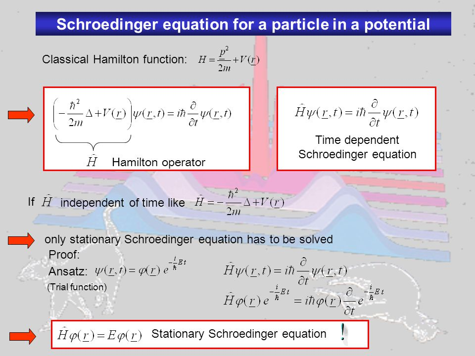 Solving the Schroedinger equation (Eigenvalue problem) Solution requires: -Normalization of the wave function according Physical meaning: probability to find the particle somewhere in the universe is 1 -Boundary conditions of the solution: have to be continuous when merging piecewise solutions Note: boundary conditions give rise to the quantization Particle in a box: x Eigenfunctions Eigenenergies Quantum number Details see homework
