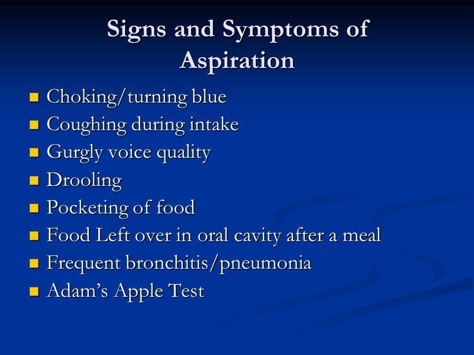 Signs and Symptoms of Aspiration Choking/turning blue Choking/turning blue Coughing during intake Coughing during intake Gurgly voice quality Gurgly v