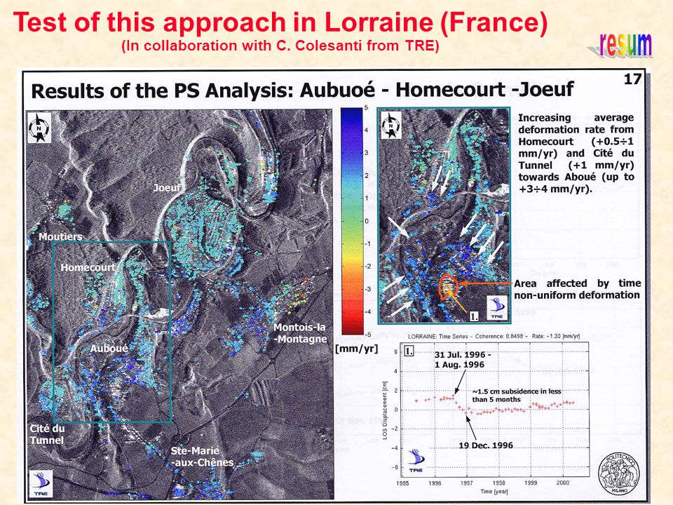 Test of this approach in Lorraine (France) (In collaboration with C. Colesanti from TRE)