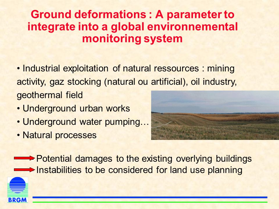 Ground deformations : A parameter to integrate into a global environnemental monitoring system Industrial exploitation of natural ressources : mining