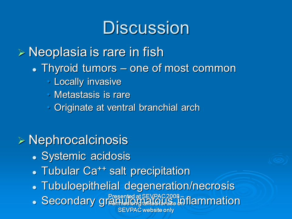 Discussion  Neoplasia is rare in fish Thyroid tumors – one of most common Thyroid tumors – one of most common Locally invasiveLocally invasive Metastasis is rareMetastasis is rare Originate at ventral branchial archOriginate at ventral branchial arch  Nephrocalcinosis Systemic acidosis Systemic acidosis Tubular Ca ++ salt precipitation Tubular Ca ++ salt precipitation Tubuloepithelial degeneration/necrosis Tubuloepithelial degeneration/necrosis Secondary granulomatous inflammation Secondary granulomatous inflammation Presented at SEVPAC 2008 – Permission granted for use on SEVPAC website only